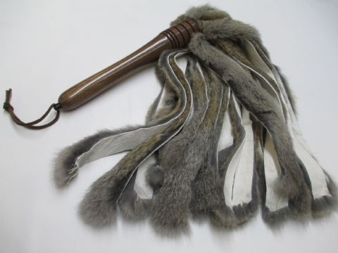 Sensation Play  Flint Coloured Rabbit Fur Falls Flogger